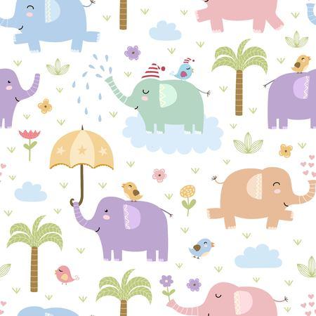 Modèle sans couture d'éléphants mignons. Texture de vecteur dans un style enfantin idéal pour le tissu et le textile, fonds d'écran, arrière-plans de page web, cartes et bannières Vecteurs