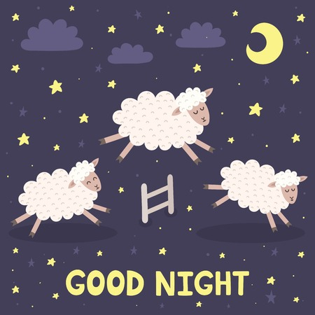 salto de valla: Good night card with the cute sheeps jumping over a fence. Sweet dreams background. Vector illustration