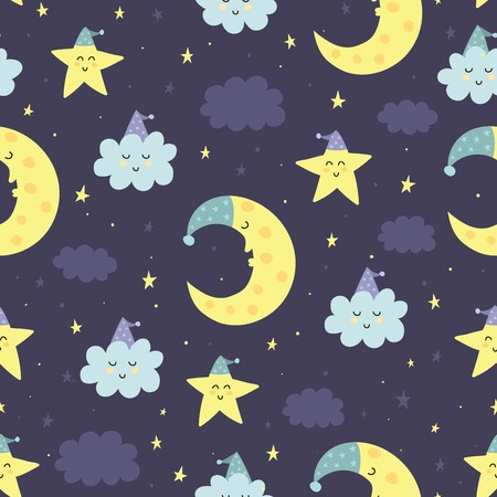 Good Night seamless pattern with cute sleeping moon, stars and clouds. Sweet dreams background. Vector illustration