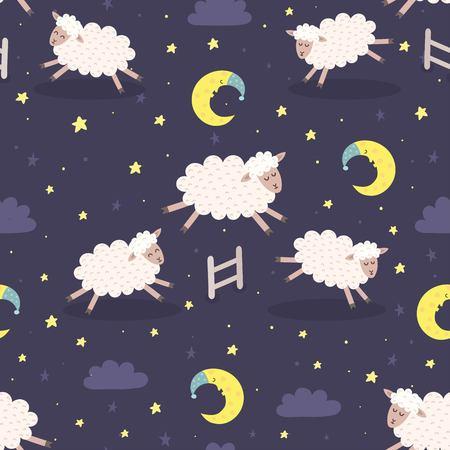 jumping fence: Buena noche perfecta patrón con ovejas lindas que saltan sobre una cerca. Fondo dulce de los sueños. ilustración vectorial