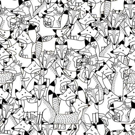 Doodle foxes seamless pattern. Black and white cute foxes background. Great for coloring book, wrapping, printing, fabric and textile. Vector illustration
