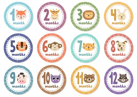 Monthly baby stickers with cute animals. Vector illustration Illustration