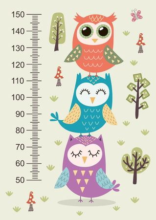 height: Kids height meter with cute owls Illustration