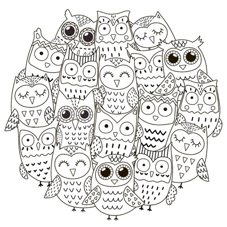 Circle Shape Pattern With Cute Owls For Coloring Book Royalty Free ...