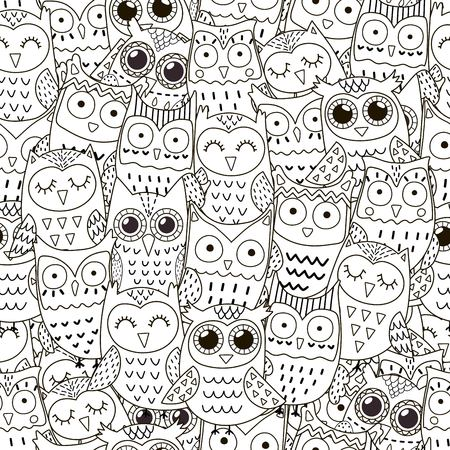 color pages: Doodle owls seamless pattern Illustration
