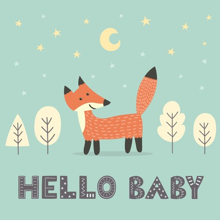 Baby shower card with a cute fox