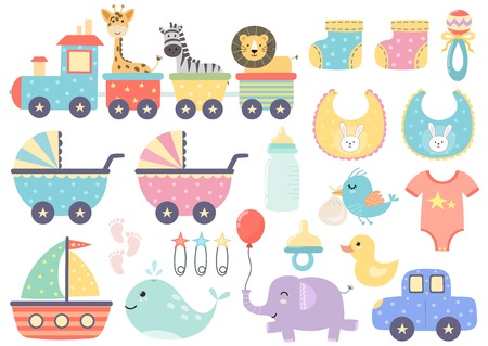 Vector set of cute baby elements