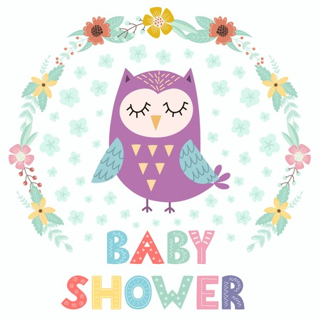 Baby shower card with a cute owl Illustration