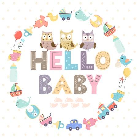 Baby shower carte avec un texte Hello baby