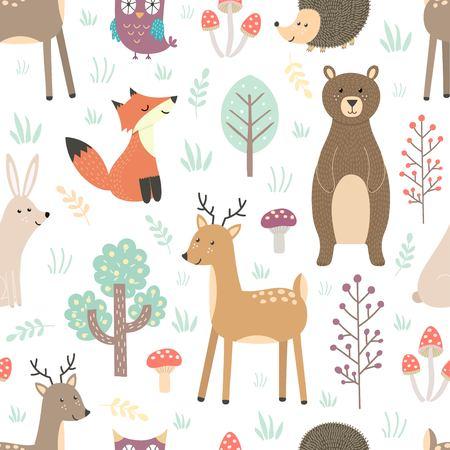 Bosque patrón sin fisuras con animales lindos Ilustración de vector