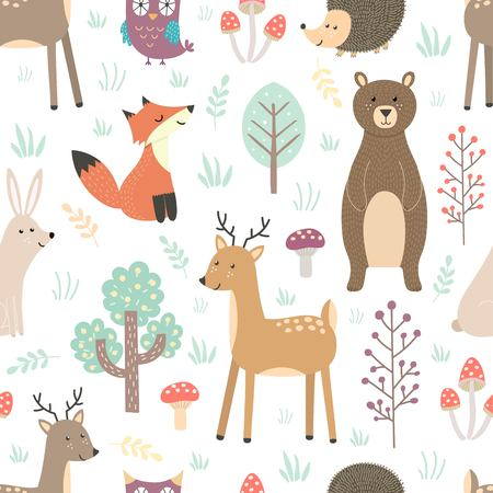Forest seamless pattern with cute animals Illustration