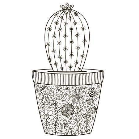 Cactus En Macetas Ornamentales Patrón Transparente Ilustraciones