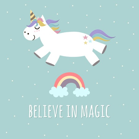 rainbow sky: Believe in Magic poster, greeting card with cute unicorn and rainbow. Vector illustration