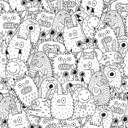 Modèle sans couture de drôles de monstres pour cahier de coloriage. Fond noir et blanc. Illustration vectorielle Banque d'images