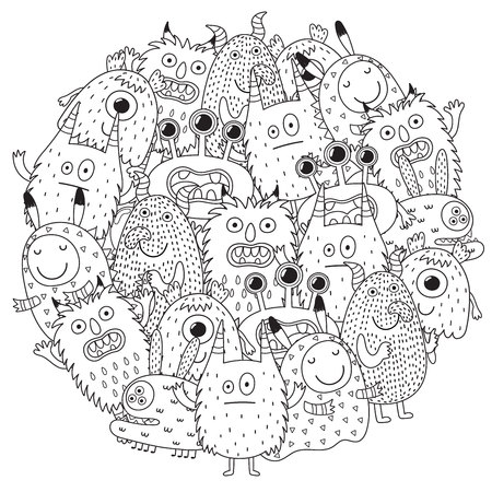 Funny monsters circle shape pattern for coloring book. Vector illustration Banco de Imagens