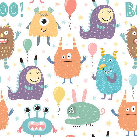 Funny monsters seamless pattern. Vector illustration