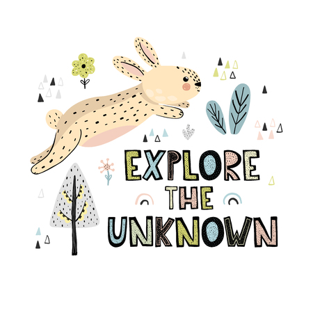 Explore the Unknown  hand drawn lettering. Cute card or print with rabbit in scandinavian style. Vector illustration  イラスト・ベクター素材