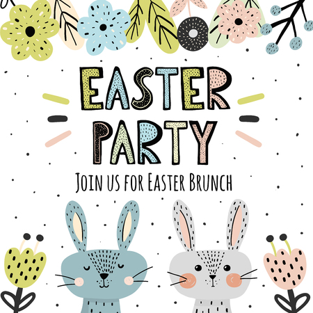 Easter Party invitation with cute bunnies in scandinavian style. Vector illustration