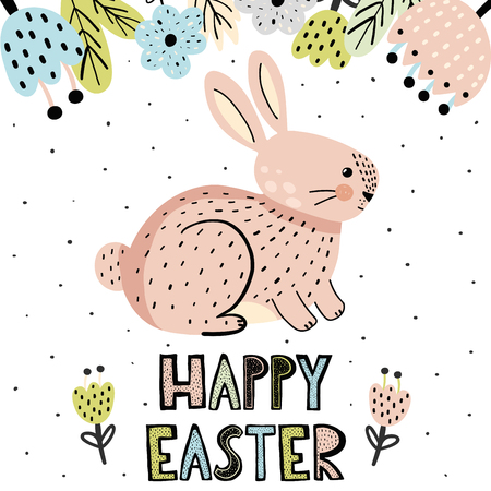 Happy Easter  greeting card with a cute bunny in scandinavian style. Vector illustration Ilustrace