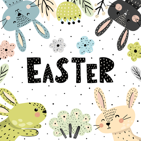 Easter poster or card with cute bunnies. Vector illustration