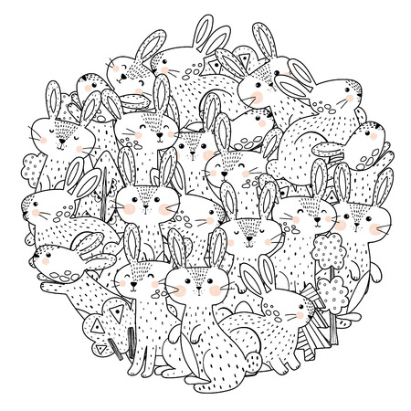 Funny rabbits circle shape pattern for coloring book. Vector illustration