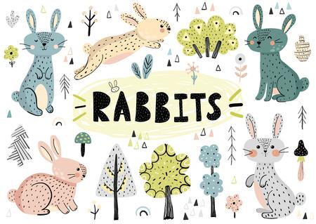 Simpatici conigli, alberi, piante e altri elementi disegnati a mano in stile scandinavo. Illustrazione vettoriale