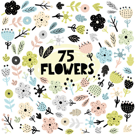 Set of flowers and plants in scandinavian style. Cute spring and nature elements for greeting cards, prints. Vector illustration