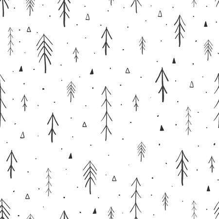Hand drawn forest seamless pattern. Vector illustration Ilustrace