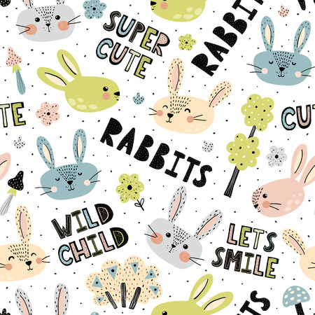 Seamless pattern with cute rabbits and hand drawn lettering. Vector illustration Ilustrace