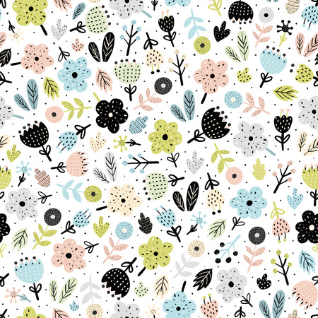 Cute flowers in scandinavian style seamless pattern. Floral background. Vector illustration Ilustrace