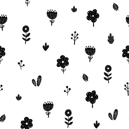 Flowers seamless pattern in scandinavian style. Creative floral background. Vector illustration