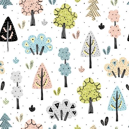 Amazing forest seamless pattern in scandinavian style. Vector illustration Ilustrace