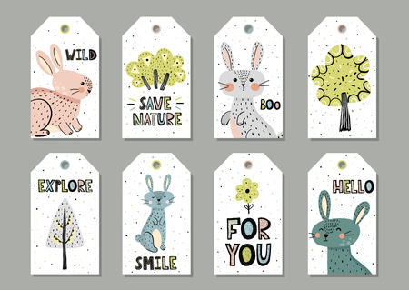 Cute rabbits gift tags set in scandinavian style. Vector illustration Ilustrace