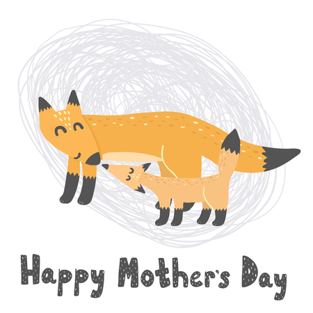 Happy Mother's Day card with cute foxes - mommy and baby. Vector illustration