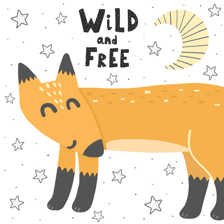 Wild and Free vector illustration with a fox. Hand drawn  cute print for cards, t-shirts, posters Ilustrace