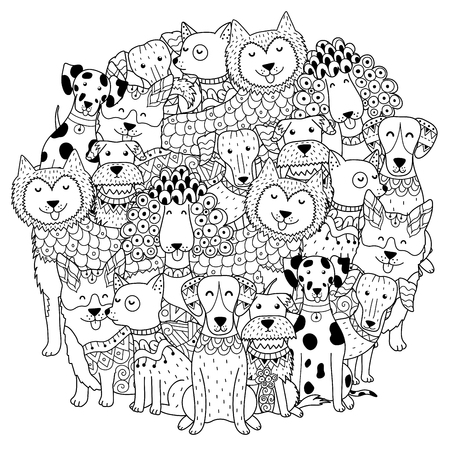 Funny dogs circle shape pattern for coloring book. Vector illustration