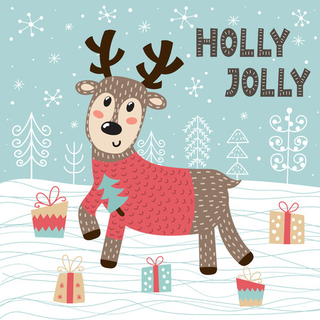Christmas seamless pattern with a cute deer. New year and winter background. Vector illustration