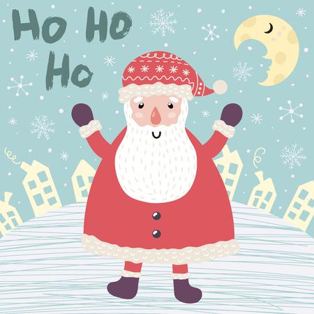 Christmas card with Santa Claus saying Ho ho ho. Winter background. Vector illustration