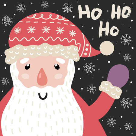 Ho Ho Ho Christmas card with cute Santa Claus and lettering. New year postcard. Vector illustration