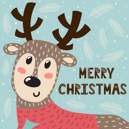 Merry Christmas greeting card with a cute deer. Holiday background. Vector illustration