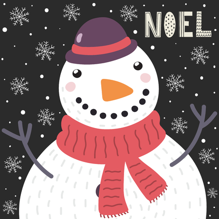 Christmas card with a cute snowman in the snow and the text Noel. Holiday background. Vector illustration Illustration
