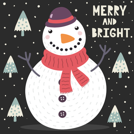 Merry and Bright Christmas greeting card with a cute snowman and trees. Vector illustration Ilustrace