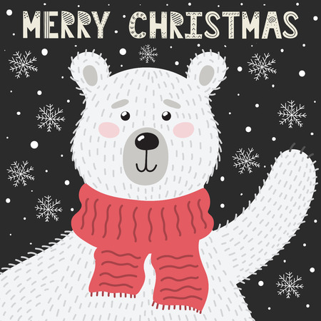 Merry Christmas greeting card with a cute bear waving his paw. Holiday background. Vector illustration