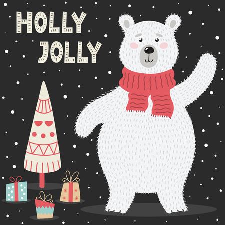 Holly Jolly greeting card with a cute polar bear and a Christmas tree. Vector illustration