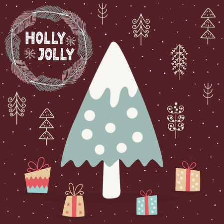 Holly Jolly card with a cute Christmas tree. New Year background. Vector illustration Ilustrace