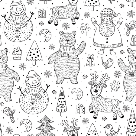 Christmas seamless pattern for coloring page. Black and white background with cute characters: polar bear, Santa, deer, snowman. Vector illustration Ilustrace