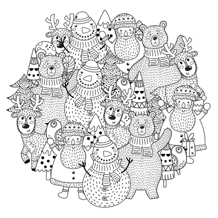 Christmas characters circle shape pattern for coloring book. Vector illustration