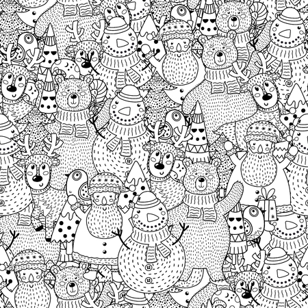 Christmas black and white seamless pattern. Great for coloring page, background, textile and fabric. Vector illustration Ilustrace
