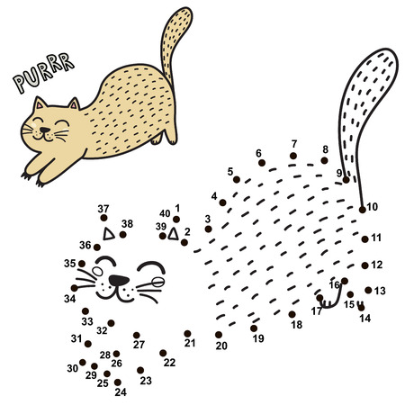 Connect the dots and draw a cute purring cat. Numbers game for children. Vector illustration Ilustração