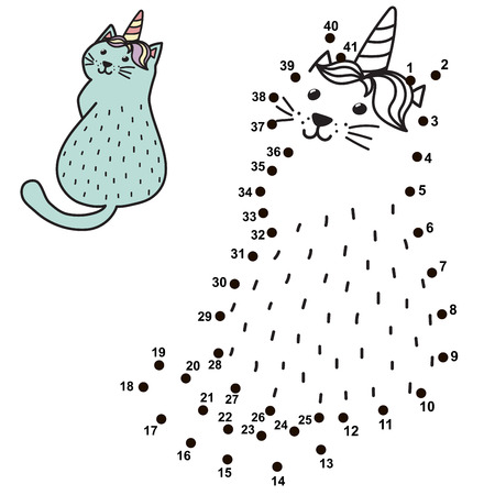 Connect the dots and draw a funny unicorn cat. Numbers game for children with caticorn. Vector illustration